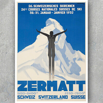 Art 22x34 Inch Travel Poster Switzerland Zermatt 030 Goods Of Every Description Are Available