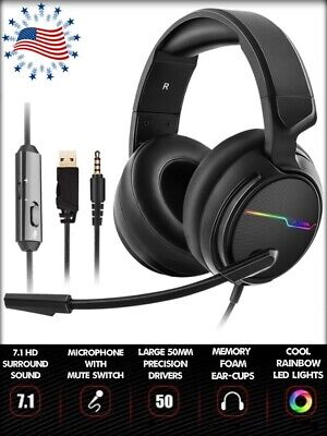 XBox One PC PS4 Gaming Headset With Microphone 50MM Drivers HD Surround Sound