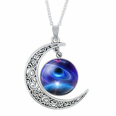 Crescent Moon Pendant Necklace ~ Glass Galaxy Planet Pendant And Chain - (989)