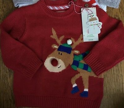 Mothercare Age 6-9 Mths Boys Knitted Christmas Reindeer Jumper 🎅🏻bnwt🎅🏻