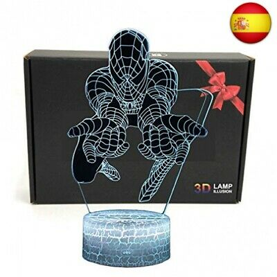 LED Superhero 3D Optical Illusion Smart 7 Colores Lámpara de mesa de luz de