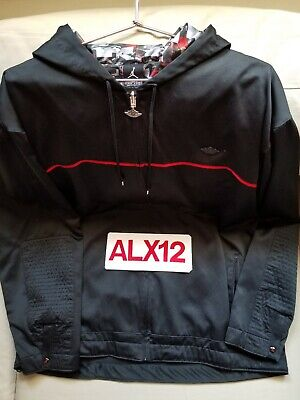 39f7eb0f69b NIKE AIR JORDAN 1 WINGS HOODED WINDBREAKER JACKET BRED 1 BLACK RED Size XXL  worn
