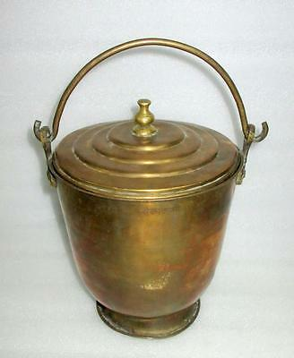 Vintage Old Collectible Rare Hand Crafted Solid Brass Hang Pot Bucket With Lid
