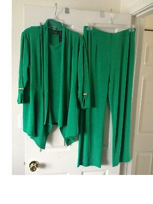 591f732b4 Chicos Womens Travelers Cabana Kelly Green Jacket No Tummy Pants Tank Top  Size 2