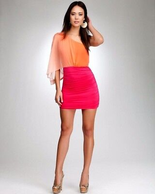 NWT Bebe Dress coral pink sheer ruched Bodycon one shoulder top two tone XS 0 2