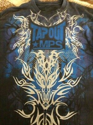5af29ac3 Tapout MPS Mens Black T Shirt Blue with Silver Design Size XL Extra Large