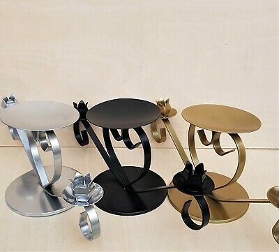 Metal Unity candle holders in gold, silver, black