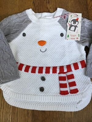 Mothercare Age 9-12 Months Knitted Snowman Christmas Jumper🎅🏻bnwt🎅🏻