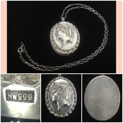 Vintage Henryk Winograd 999 Silver HW High Relief Cameo Pendant & Sterling Chain