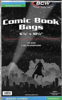 (100) Bcw Resealable Current  Modern Comic Book Size Bags / Covers Free Shipping