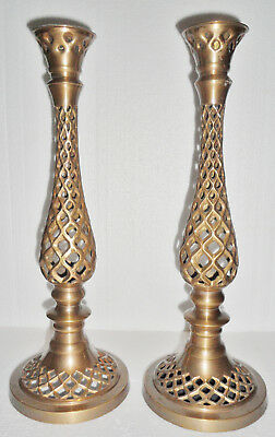 """14"""" Pair Solid Brass Ornate Filigree Candle Holders Candlesticks Gold Color RARE"""