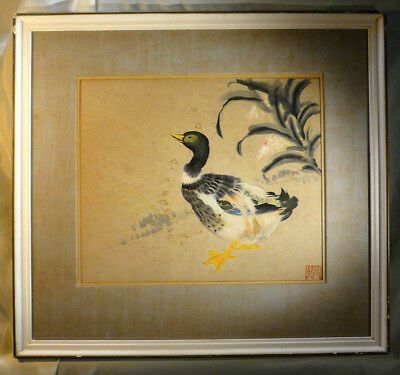Vintage Original Japanese Kakejiku Mallard Duck Painting Signed Frame Silk Mount