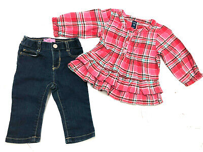 cf5de0849 Old Navy Baby Girl Outfit Plaid Pink Ruffle Top & Skinny Jeans Size 6-12