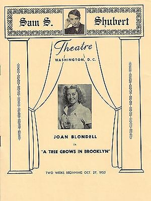 "Joan Blondell ""A TREE GROWS IN BROOKLYN"" Robert Shackleton 1952 Playbill"