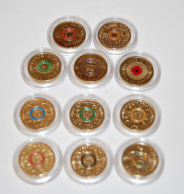 11 $2 coins Red Poppy,Red & Orange Anzac ,Purple + 6 Rio OLYMPICS UNC 2012-2017