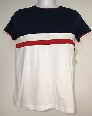 2e4df36d $38 New ~ Free Planet Tee Shirt Tri Color Block Blue White Red Usa Mens  Small