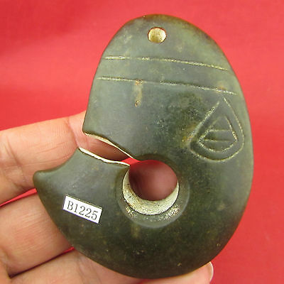 Chinese ancient Hand-carved jade Jade pendant 红山文化B1225