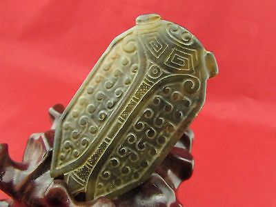 Chinese natural old jade Hand carved cicadas jade pendant amulet B1004