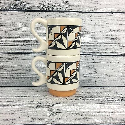 Vintage Mid Century Mod Stack Coffee Mug Cup Glazed Ceramic Pottery Lot of 2