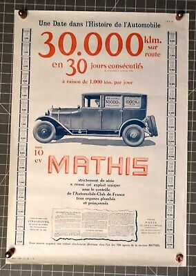ORIGINAL MATHIS 17x25 FRENCH ADVERTISING POSTER 1925 GREAT ART OF  ANTIQUE CAR