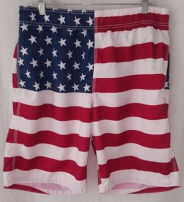 0a59fa7338 OLD NAVY CALIFORNIA Mens American Flag Board Shorts Size 36 Red Blue ...