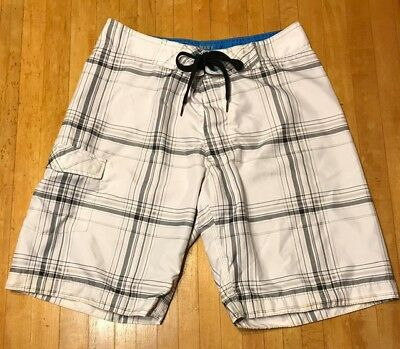 4d5a2f99770 OLD NAVY Board Shorts Mens Size Small Swim Trunks Bathing Suit White/Gray  Plaid