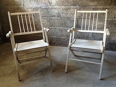 Pair antique vintage folding wooden deck patio pool beach chairs