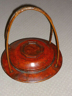 Vintage Chinese Wooden Food/Wedding Basket Signed Showing Artist with Family