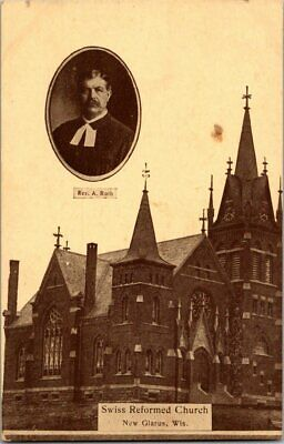 EARLY 1900'S. NEW GLARUS, WISCONSIN. SWISS REFORMED CHURCH. POSTCARD q8