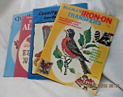 Embroidery Iron-on Transfer Books Western Flowers Alphabet lot of 4