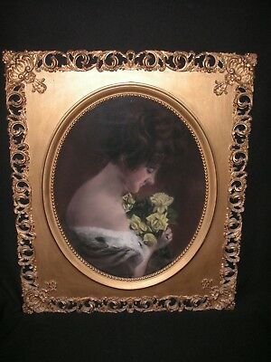 """Antique Victorian Woman Yellow Roses Portrait Ornate Carved Wood Gold Frame 28"""""""