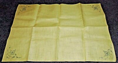 TrayCloth Centre Towel Runner To Embroider Traced Stamped Linen Yellow Butterfly