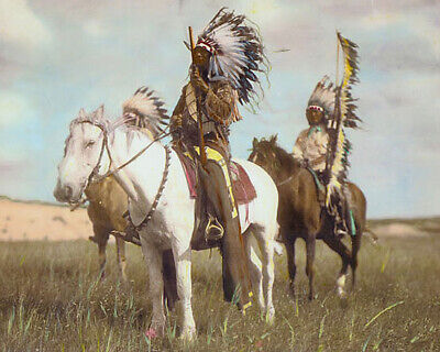 """CHIEF RED FOX NATIVE AMERICAN INDIAN SIOUX 8x10"""" HAND COLOR TINTED PHOTOGRAPH"""