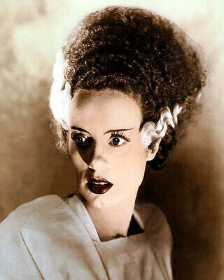 "ELSA LANCHESTER THE BRIDE OF FRANKENSTEIN 1935 8x10"" HAND COLOR TINTED PHOTO"