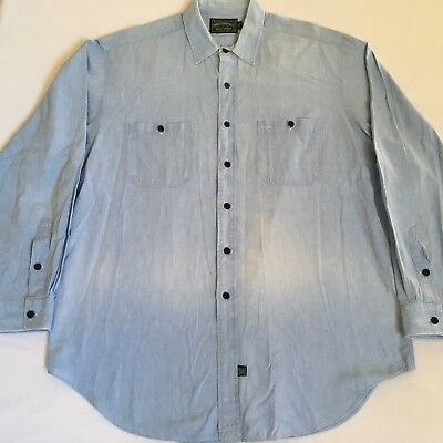 Ralph Lauren Polo Country Chambray Dry Goods Blue Cotton Shirt Faded Mens XL