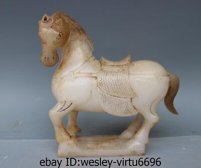 Chinese Folk Old White Jade Stone Carved Lucky Tang Horse Horses Art Statue AA