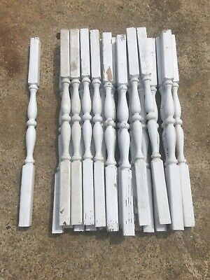 "Lot Of 22 vintage architectural white wood salvage porch Rails 30 1/2"" Balisters"