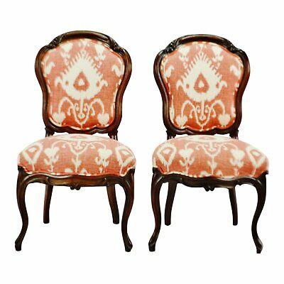 Vintage Victorian Style Upholstered Accent Chairs - A Pair