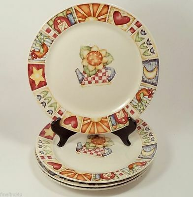 Gibson Everyday China Dishes 4 Dinner Plates Country Quilt Pattern
