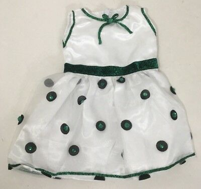 """15"""" doll clothes hand made outfit white green jewels glitter Dress"""