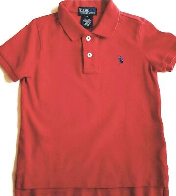 EXC Polo Ralph Lauren Toddler Boys Red Shirt sz 4/4T Unisex Pique Mesh