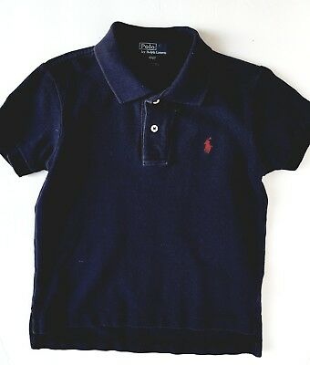 EXC Polo Ralph Lauren Toddler Boys Navy Shirt sz 4/4T Pique Mesh Unisex