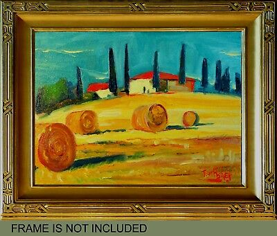 Hay Italy Oil Painting Original Impressionist Landscape Tuscany Villa Yellow Red