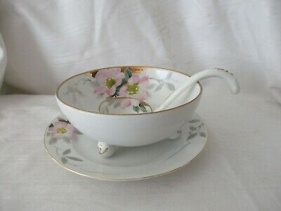 Nippon vintage hand painted 3pc condiment bowl plate spoon pink gold