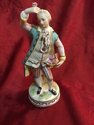 Dresden Porcelain Figurine Man With Basket Of Flowerd