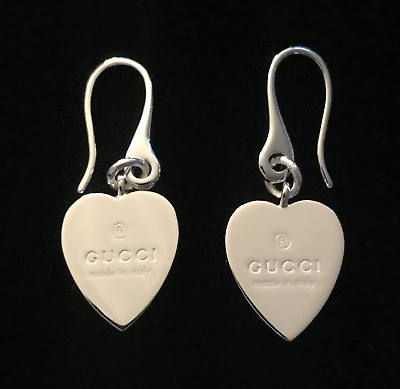 2f6efab59 NEW GUCCI .925 Sterling Silver Trademark Heart Drop Earrings - AUTHENTIC