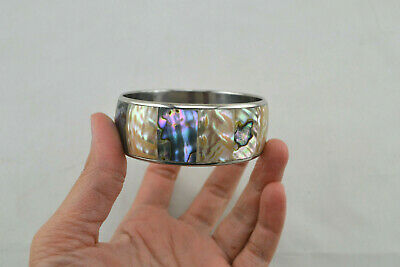 Golden Mother Of Pearl And Abalone Shell Stainless Steel Bangle Bracelet T-1338