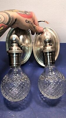 Wired Pair Antique Original Nickel Plated Brass Patina Wall Sconces Lights 60F