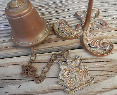Vintage Marine Nautical Brass Copper Wall Mount Hang Chain Ship Bell Door Knock