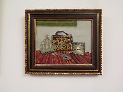 VERY DELICATE STILL LIFE PAINTING - JUDAICA ITEMS COMPOSITION jewish hebrew art